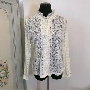 Vintage Lace Button Down Blouse Pearl Large